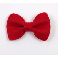 Bright Red Hello Kitty Style Rounded Edges Felt Hair Bow Free Shipping