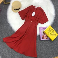 """Dior"" Women Temperament Retro Elegant Solid Color V-Neck Short Sleeve Dress"