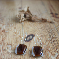 Umber Brown, Light Brown With Subtle Minimalist White Line Rectangle Glass Earrings