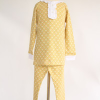 Alden Ruffled Button Placket Two-Piece Pajama Set