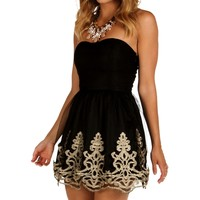 Sale-black Mesh Embroidered Tunic