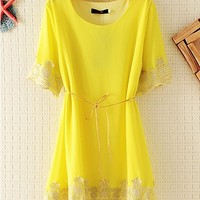 EMBROIDED CHIFFON LACE TOP