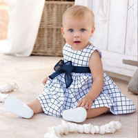 Blue line children dress baby girls' bow dress Climbing clothes Children's non-sleeve dress toddlers' summer clothing free shipping