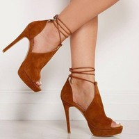 Womens High Heels Ankle Strappy Peep Toe Summer Casual Sexy Plus Size Stiletto