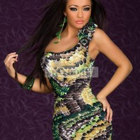 Sexy One-shoulder Mini Dress With Feather-Print Green With Trends: Sexydonut.com