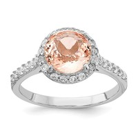 Cheryl M Sterling Silver Simulated Morganite Round Halo Ring
