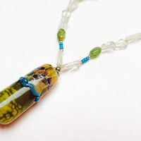 Pendant necklace, lampwork beads, green, blue, yellow, colorful jewelry, statement necklace, summer necklace