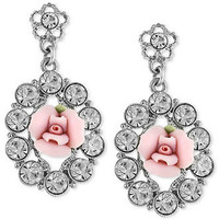 2028 Earrings, Silver-Tone Pink Rose Crystal Drop Earrings - All Fashion Jewelry - Jewelry & Watches - Macy's