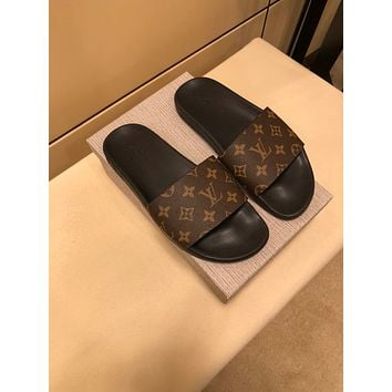 LV Louis Vuitton OFFICE QUALITY Men's Leather Sandals