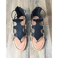 STRAPPY LACE SANDAL