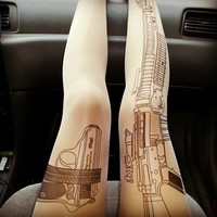 Gun Rifle tattoo tights leggings pantyhose
