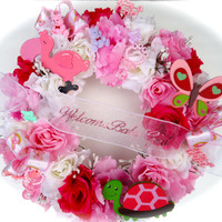 New Baby Celebration Floral Wreath - Girl or Boy Welcome New Baby Wreath, Pink or Blue Roses