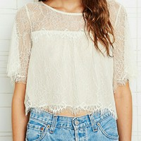 Urban Outfitters Lace Flutter Top | Eyelash Lace S