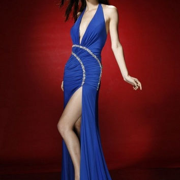 AB900 Halter Prom Pageant Dress with High Leg Slit and Long Train