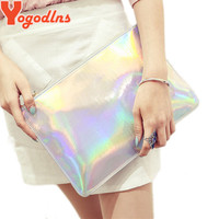 Yogodlns 2017 Laser women bags Designer clutch bag Fashion women messenger bags ladies Envelope Clutches handbag