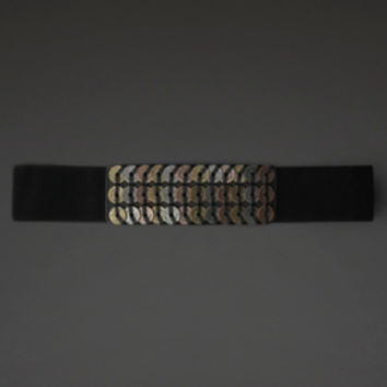 Mixed Metal Coin Stretch Belt