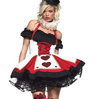 2014 new cosplay 8269 Sexy Queen of Hearts halloween costume with crown Fancy Dress Hens Party Full Outfit