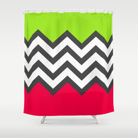 Color Blocked Chevron 5 Shower Curtain by Josrick
