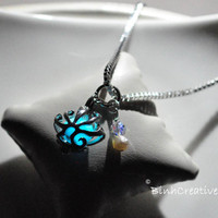 glow in the dark sea shell pendant - 18k white gold plated pendant -  sterling silver necklace - mermaid jewelry