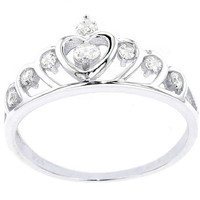 .925 Sterling Silver Cubic Zirconia Princess Crown Ring