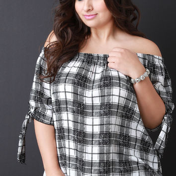 Plaid Tie Sleeve Off The Shoulder Top