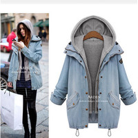 Autumn Winter Women Extra Plus Size Jeans Outerwear Jacket a12892