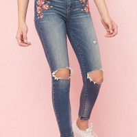 Ultra High Rise Jegging With Embroidery