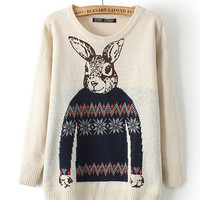 Cartoon Rabbit Print Long Sleeve Knit Sweater