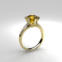 2.48ct yellow sapphire ring, engagement ring, diamond engagement, solitaire, sapphire engagement, unique, vintage style, white gold, yellow