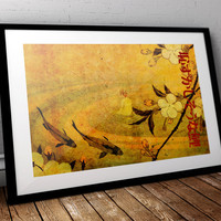 Japanese Koi Carp Illustration Art Print Vintage Giclee on Cotton Canvas or Paper Canvas Poster Wall Decor
