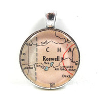 Vintage Map Pendant of Roswell, New Mexico, in Glass Tile Circle