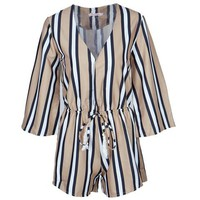 Plunge Deep V Neck Vertical Striped Loose Romper Short Women Summer Jumpsuit Sexy 2017 Fashion Beach Ladies Playsuit Overall