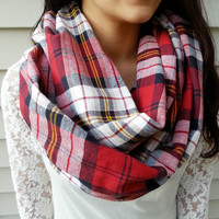 Chunky Red Plaid Infinity scarf, Warm Boho Infinity Scarf, **Back order about 3 days** enter promo code: WANELO15 for 15% off