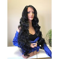 "Black 30"" Curls Hair SWISS Lace Front Wig"