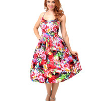 1950s Style Pink Watercolor Floral Garden Swing Dress