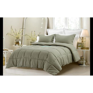 3PC Reversible Solid/ Emboss Striped Comforter Set- Oversized & Overfilled ( 2 Bedding Looks in 1) - Sage in Full Size