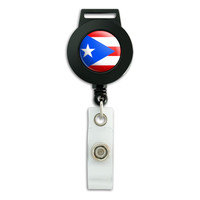 Puerto Rico National Country Flag Retractable Badge Card ID Holder