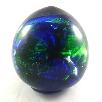 Handmade Art Glass Easter Egg Paperweight, Blue and Green, Extra Large, Mother's Day Gift