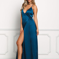 Teal Satin Plunge Wrap Maxi Dress