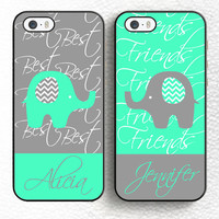 Set of 2 Best Friend Blue Elephant Personalized Soft TPU Shell Phone Case For iPhone 6 6S Plus 7 7 Plus 5 5S 5C SE 4 4S Cover -0329