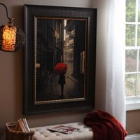 Red Rain Street Walk Framed Art Print | Kirklands