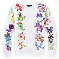 White Emoji Pokemon Print Sweatshirts
