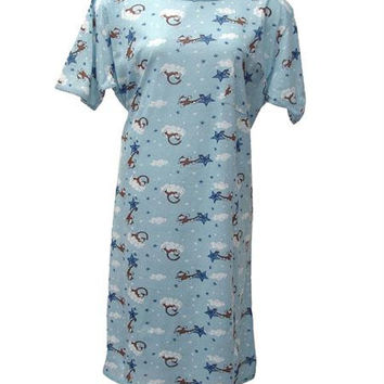 Cotton Nightgown - Light Blue