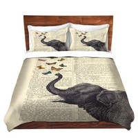 Duvet Cover Brushed Twill King from DiaNoche Designs Unique Home Decor and Designer Bedding Ideas by Madame Memento - Elephant Butterflies