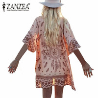 Summer Women Retro Printed Floral Beach Half Sleeve Cover Up Blouse Shirt Loose Cardigan Plus Size