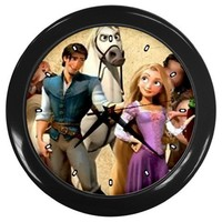 Tangled Movie Wall Clocks 10 Inch Kitchen Modern Unique Round Black Decorations High Quality Great Gift for Dad Mom Man Woman