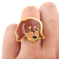 Dachshund Wiener Puppy Dog Face Shaped Adjustable Animal Ring | Limited Edition
