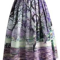 Under the Jacaranda Printed Midi Skirt