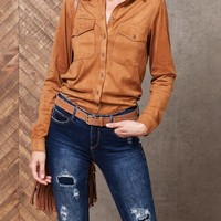 Faux-suede top - SHIRTS - WOMAN | Stradivarius Republic of Ireland