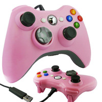 Wired Xbox 360 USB Game Pad Joysticks Controller For xBox 360 or PC Pink